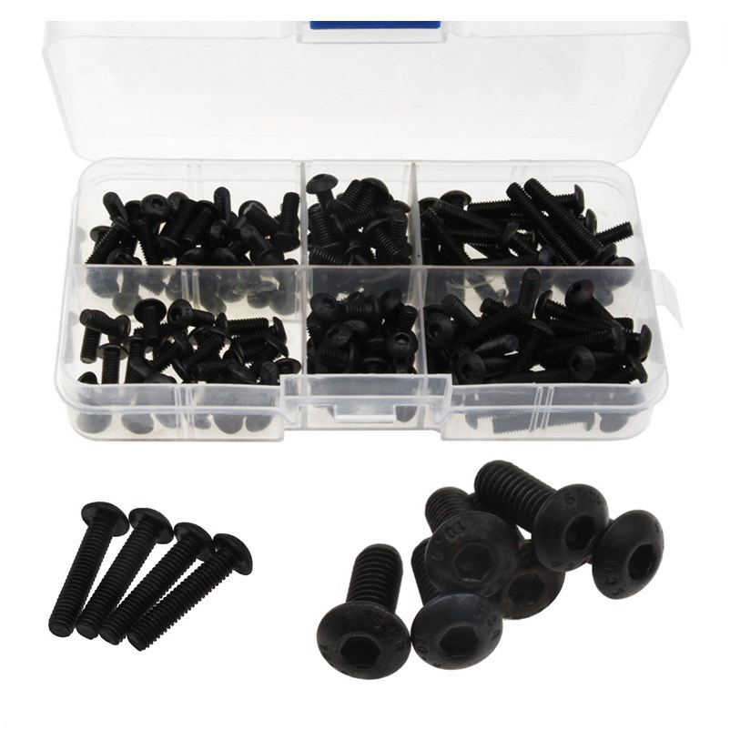 170PCS 304 Stainless Steel Assortment Kit For Connection Black Round Head Hex Socket Screws Set M4*6/8/10/12/20/25 Hexagon Screw 60pcs box stainless steel m4 screw kits hex socket head cap screws m4 6 8 12 16 20 25mm fastener assortment kit hardware tools