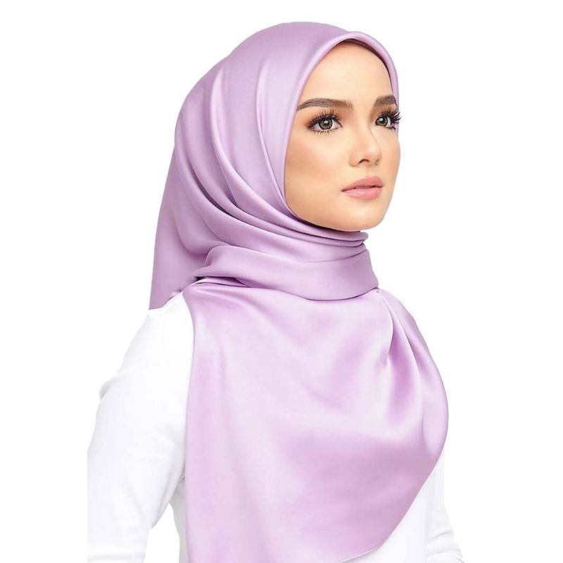 90x90cm Muslim Hijab Women Silky Satin Plain Solid Square Shawl   Scarf   Twill Islamic Head   Wrap   Multi-Function Headscarf 7 Colors