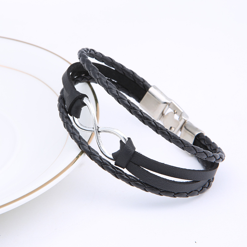 Ourania Digital 8 word jewelry fashion lucky bracelet woven leather rope bracelet men 39 s and women 39 s lovers bracelet in Bangles from Jewelry amp Accessories