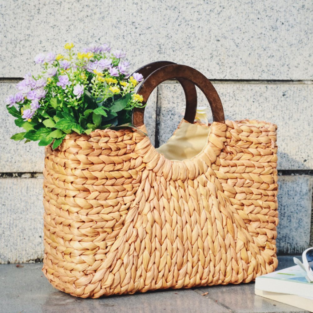 ABDB Women Straw Bags Handbag Handmade Beach Bag Ladies Bohemian Knitting Shoulder Bag Shopping Beach Travel Bag Satchel Purses
