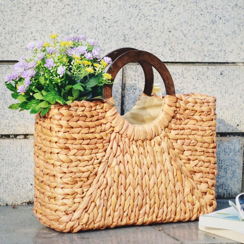ABDB Women Straw Bags Handbag Handmade Beach Bag Ladies Bohemian Knitting Shoulder Bag Shopping Beach Travel Bag Satchel Purses