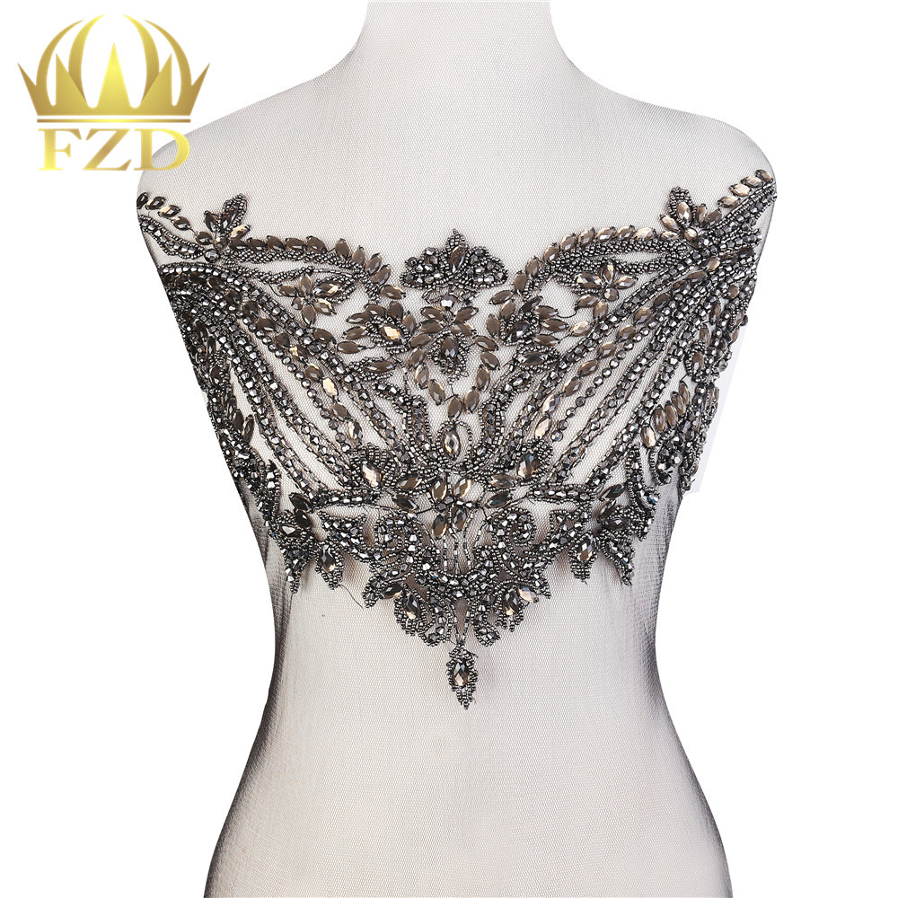 1 Piece Elegant Black Crystal Stone Patches And Rhinestone Crystal With Gauze For Wedding Dresses, DIY Decorative Clothes