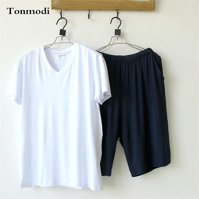 Men's Pajamas Summern Bamboo Fiber Cotton Pajamas Short Sleeve Solid V-neck Pyjamas Men Lounge Pajama Set