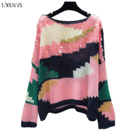 LXUNYI Pink Sequins Patchwork Sweater Pullover Women 2019 Autumn Knitted Sweater Loose Sweaters Female Round Collar Knitwear