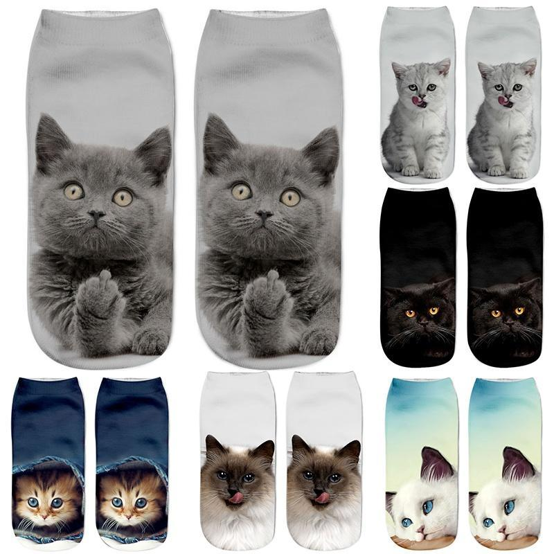 Hot Selling 3D Printing Women   Socks   Cat Design Fashion Unisex Christmas Gift   Socks   Low Ankle Kids Funny   Sock