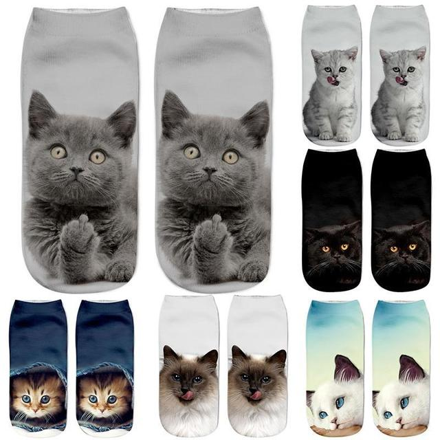 MINHIN Hot Selling 3D Printing Women Socks Cat Design Fashion Unisex Christmas Gift Socks Low Ankle Kids Funny Sock
