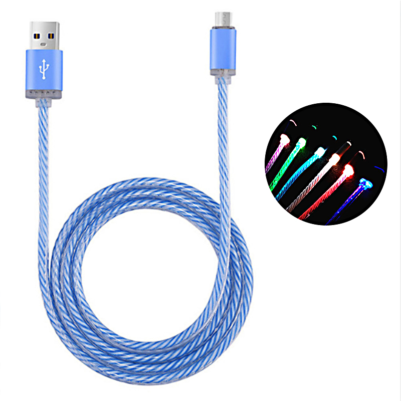 Colorful LED Light USB Cable Mobile Phone Fast Charger Data