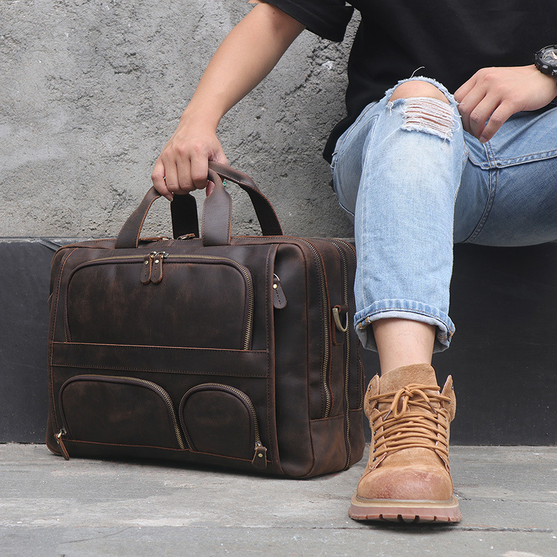 MAHEU Vintage Leather Mens Briefcase With Pockets Cowhide Bag On Business Suitcase Crazy Horse Leather Laptop MAHEU Vintage Leather Mens Briefcase With Pockets Cowhide Bag On Business Suitcase Crazy Horse Leather Laptop Bags 2019 Design
