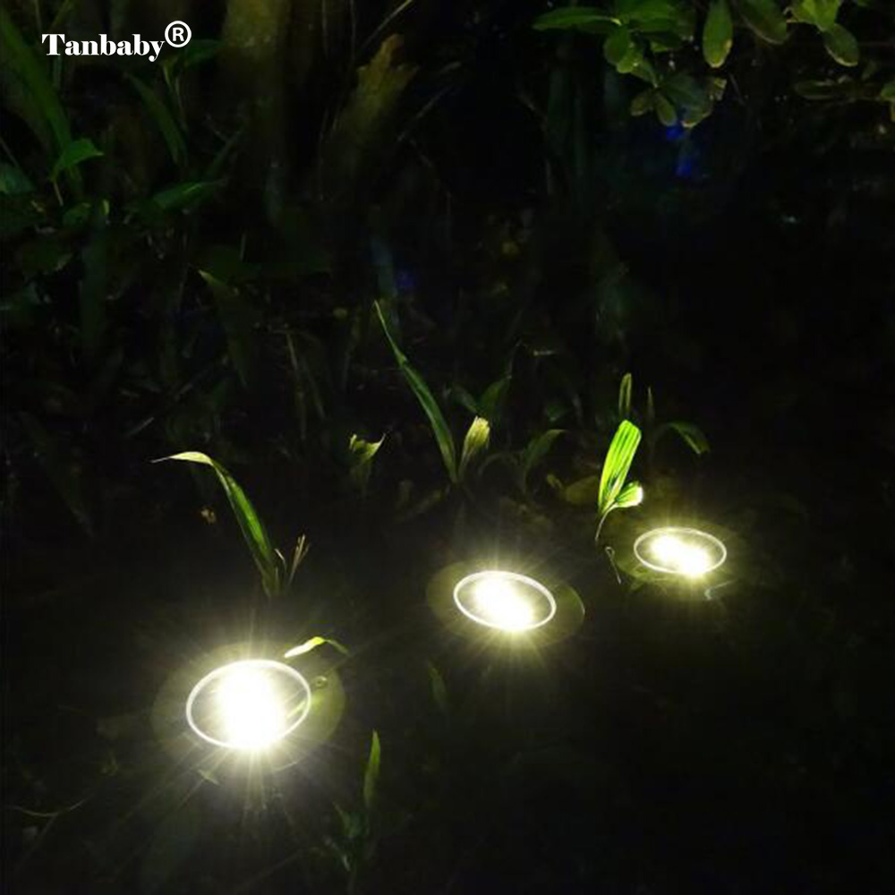 Tanbaby 2pcs/lot Solar Lamp 2 3 4 leds Underground Lighting Solar Power Round Ground Waterproof Garden Yard Road Lawn Path Lamp