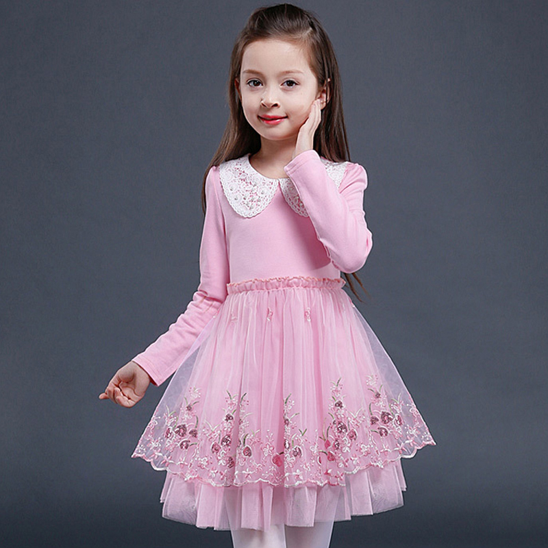 Children Clothes Embroidery Princess Dress 2017 New 3-13 Years Girls Autumn Dress Party Wedding Floral Print Kids Dresses XL128 цены онлайн