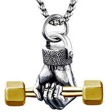 Hip hop pendant necklace long chain retro silver fist dumbbell pendant necklace stainless steel chain sports jewelry astronaut pendant necklace galaxy universe spaceman meditation trinket retro stainless steel chain men necklace