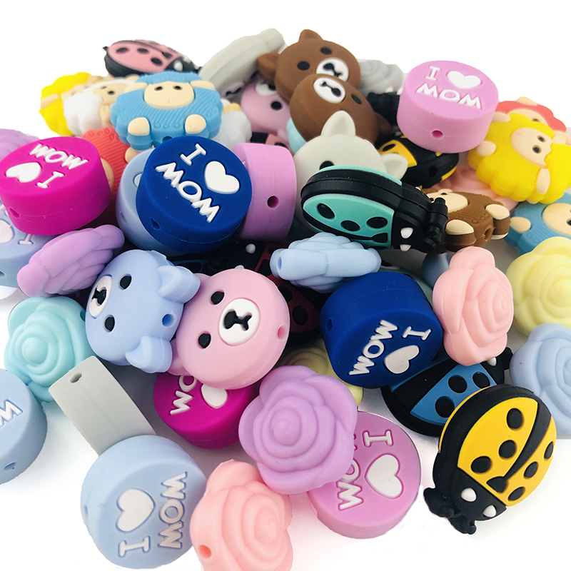 5pc Silicone Beads Sheep Cartoon Animal BPA Free Baby Teether DIY Accessories Baby Teething Necklace Food Grade Silicone Teether