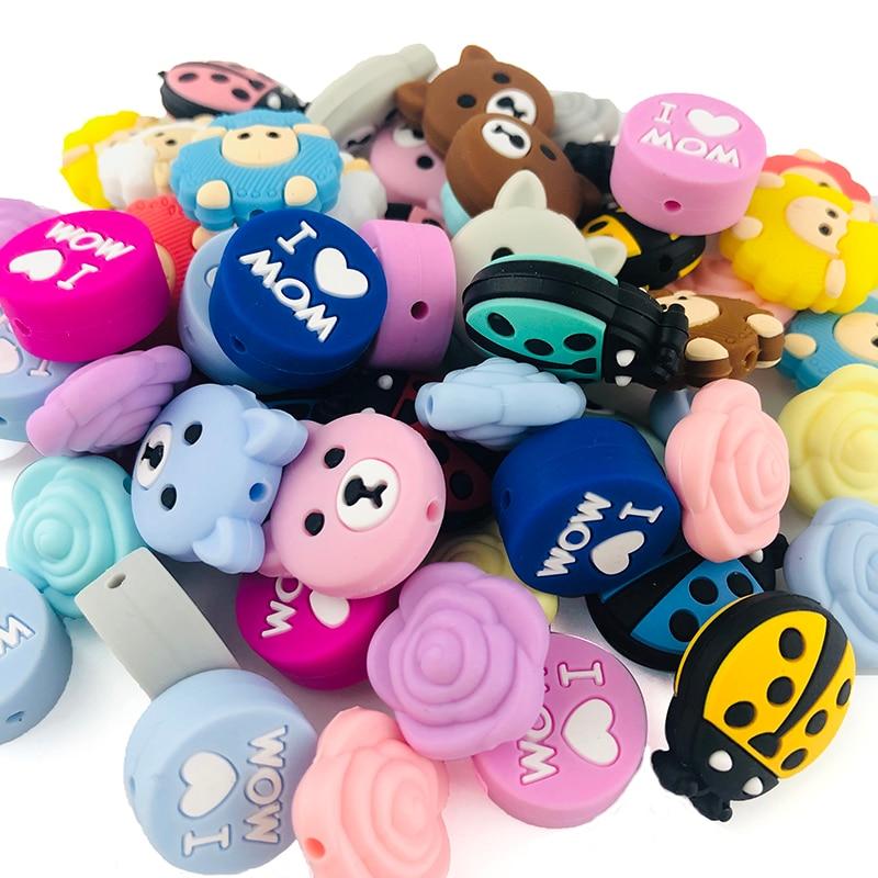 5 adet silikon boncuk koyun karikatür hayvan BPA ücretsiz bebek diş kaşıyıcı DIY aksesuarları bebek diş çıkarma kolye gıda sınıfı silikon diş kaşıyıcı