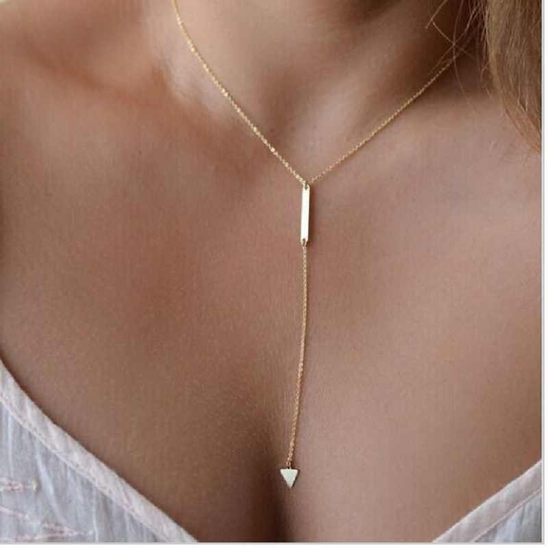 Hot fashion Casual Fashion Metal Chain Bar Circle Lariat Triangle Punk Sexy Necklace drop shipping