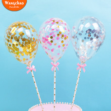 5pcs/lot 5inch Latex Confetti Balloon Cake Toppers Happy Birthday Party Topper Wedding Baby Shower Kids Decorations