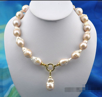 Charming 18 25mm baroque baby pink keshi reborn pearl necklace pendant