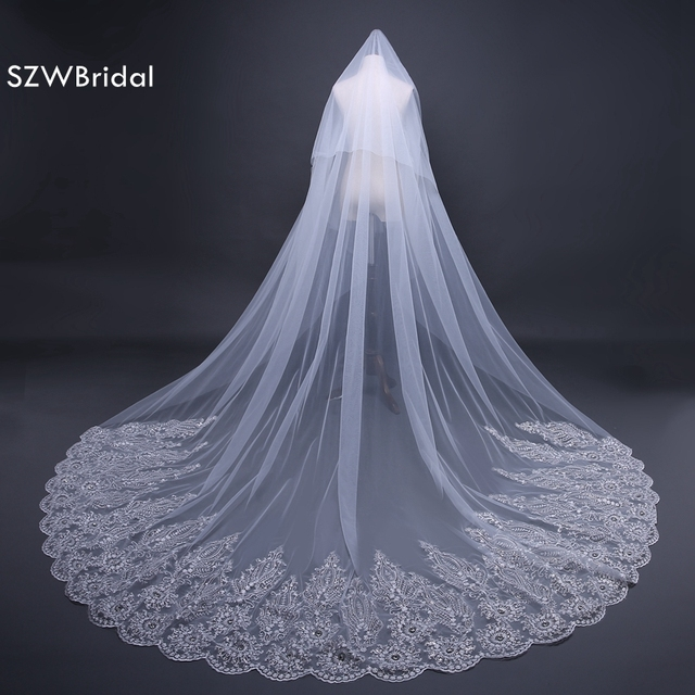 New Arrival White 3 Meter wedding accessories 2019 Veu de noiva Lace Appliques bridal veil velo de novia Brautschleier