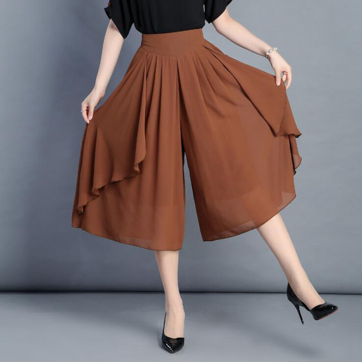 0401 2019 Summer Split Chiffon Trousers Skirts Loose Solid Color Wide Leg Pants Women Plus Size Thin Elastic High Waist White in Pants amp Capris from Women 39 s Clothing