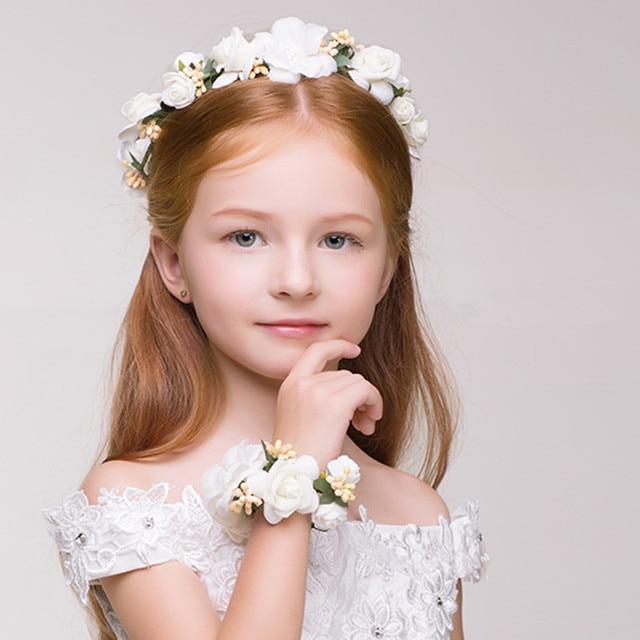 Cute Children Flower Headband Bracelet Set Young Girl Beautiful