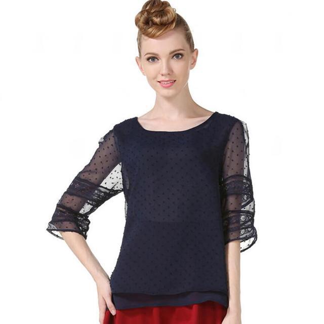 Summer Chiffon blouse women Hollow Half sleeve shirt Plus Size Casual ladies Tops shirt women blusas blusa feminina S-5XL 1