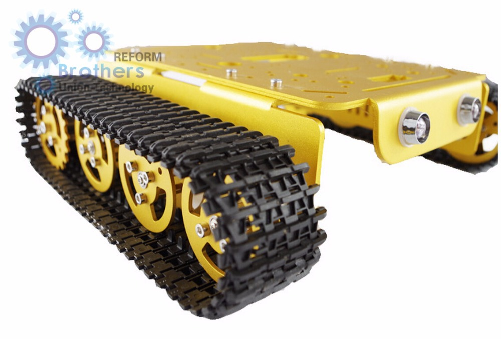 T200 golden aluminum alloy tracked robot chassis Tank toy car obstacle avoidance robot intelligent remote control robot DC motor metal aluminum alloy robot tank chassis 37 motor strong power sk9