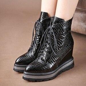 Image 5 - ALLBITEFO naturalne prawdziwej skóry kliny szpilki kobiety botki moda na co dzień platformy buty zimowe damskie buty motocyklowe
