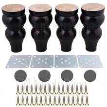 Oak Wood15x7x3.5cm Black&White Wood Gourd-shaped Furniture Table Sofa Desk Legs Feet Pack of 4