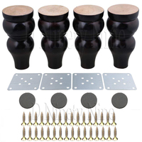 Oak Wood15x7x3.5cm Black&White Wood Gourd shaped Furniture Table Sofa Desk Legs Feet Pack of 4