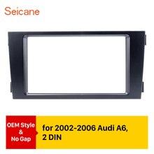 Seicane carro duplo din estéreo painel fascia adaptador dvd quadro guarnição para audi a6 c5 reequipamento moldura marco painel kit de instalação