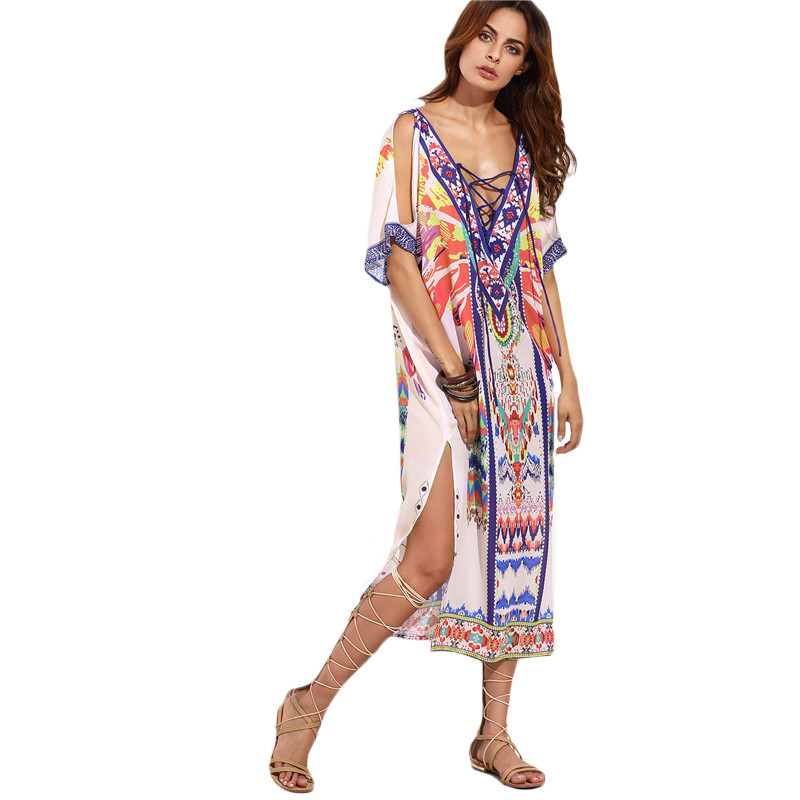 deac285ba6 SheIn Boho Woman Summer Beach Dresses Ladies Multicolor Print ...