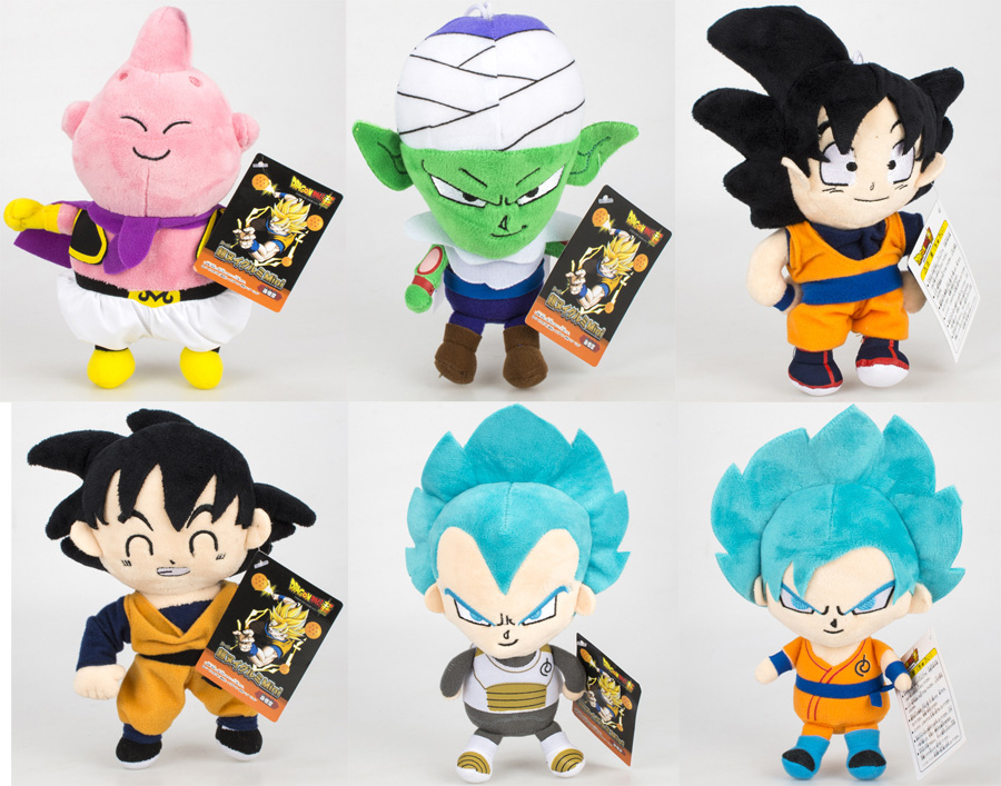 6pcs/set Dragon Ball Z Figures Plush Doll Super Saiyan God Son Goku,Buu, Vegeta ,Piccolo Figure Soft Plush Doll Model Toys new hot 33cm dragon ball buu plush toys soft stuffed doll christmas gift
