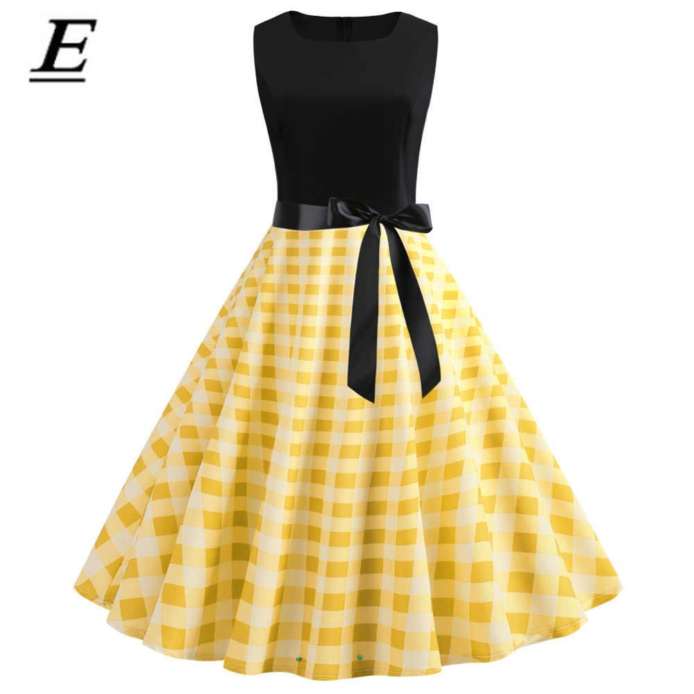 Большие размеры S ~ 2XL винтажное клетчатое женское ретро платье 50 S 60 s рокабилли свободное платье с круглым вырезом без рукавов для офиса vestidos сарафан Новый