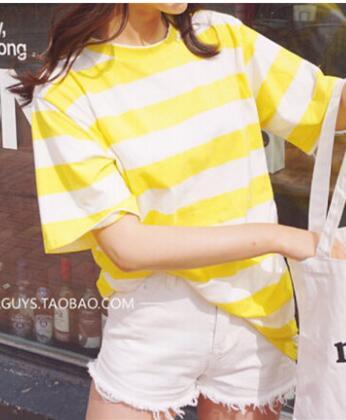Новое поступление; Летнее студент одежда Женская мода Тонкий Изделие из хлопка с короткими рукавами Yelllow белый полосатые футболки M-XXL