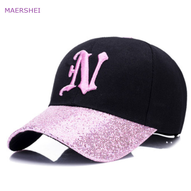 MAERSHEI new ladies letter embroidered baseball cap sequins fashion casual curved hats girls can adjust hip hop hats