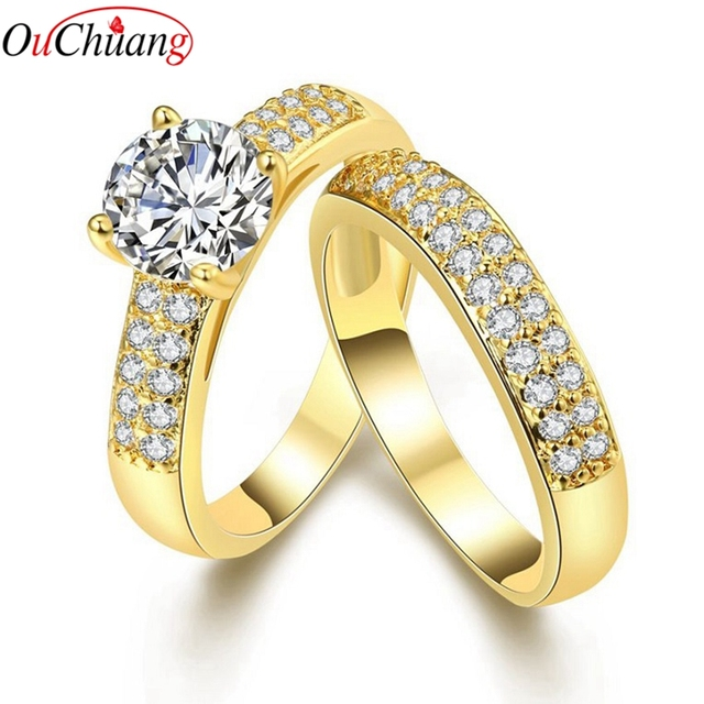 Cubic Zirconia Luxury Jewelry Promise Engagement Double Rings for