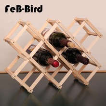 10 Bottles Luxury Wood Wine Rack Wooden Holder Display Sheelf for Red Whisky, Foldable and High Quality