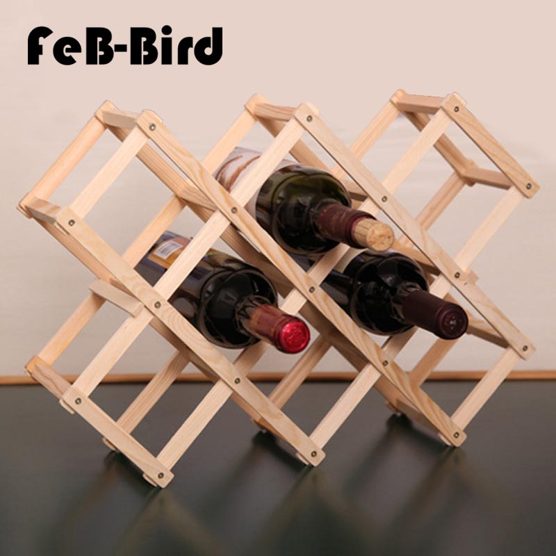 10 Bottles Luxury Wood Wine Rack Wooden Holder Display Sheelf for Red Wine Whisky, Foldable and High Quality
