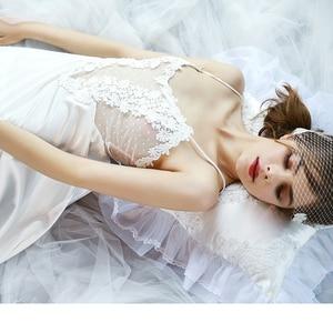 Image 5 - Sexy Night Gown Silk Sleeveless Nightdress Satin Bride Lace Women V neck Sleepwear Summer Female Lingerie Clothes Home sleepwear