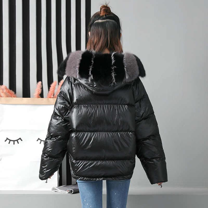 Ftlzz Winter Jas Vrouwen Echte Bontjas Natuurlijke Vos Bontkraag Losse Korte Jas Sliver Wit Dubbelzijdig Eendendons jas