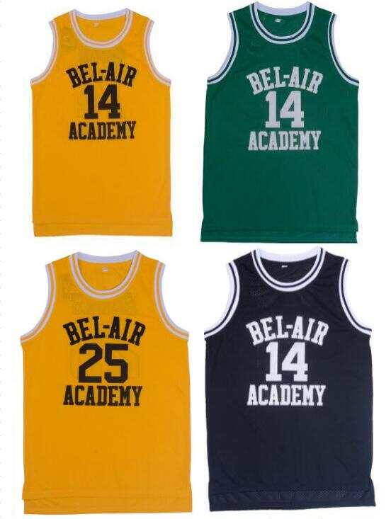 Prix pour Rétro Basket-Ball Jersey Will Smith Frais Prince Jersey Chemises Jaune Lettres Noires et Marron Lettres Hip Hop de Basket-Ball Jersey