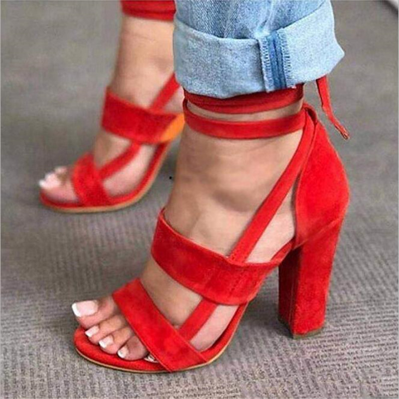 ELGEER Summer Shoes Woman 2018 Women's Sandals High Heel Gladiator Cross-tied Lace-Up Casual Ankle Strap Flock Sandal new women sandals low heel wedges summer casual single shoes woman sandal fashion soft sandals free shipping
