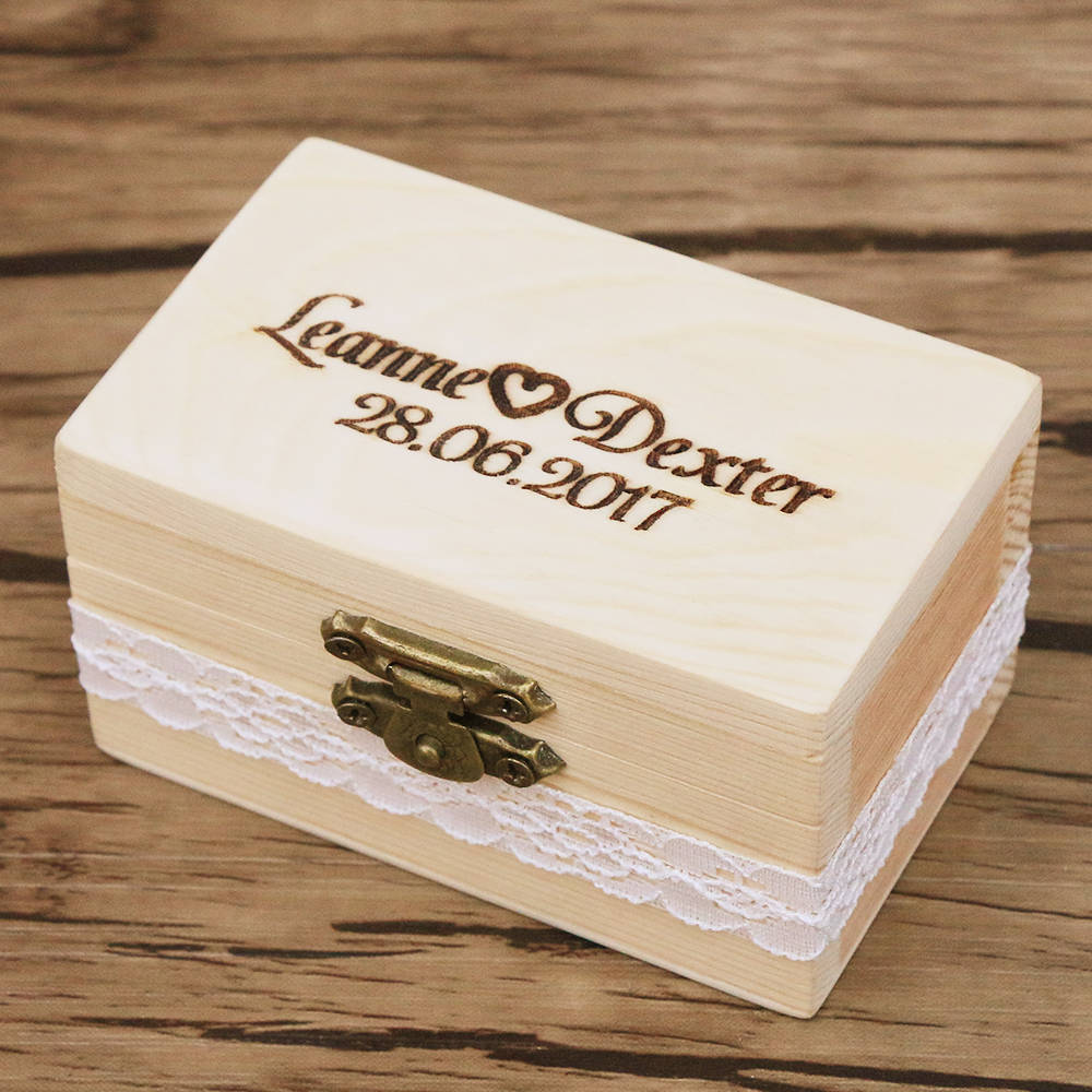 Personalized Gift Rustic Wedding Ring Bearer Box Wood Wedding Ring Box Custom Names and Date Laser Engraved Unique Wedding Gift-in Party Favors from Home ...