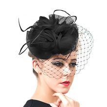 Women Chic Fascinator Hat Cocktail Wedding Party Church Headpiece Fashion Headwear Fancy Feather Hair Accessories 2016 New F1802