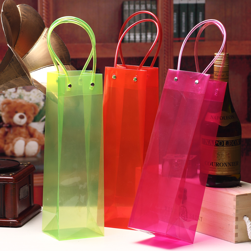 PVC Handle Colorful Clear PP Bags Wine Packing 33x10x9cm Red Green Cherry Juice Olive Oil Champange Bottle Carrier Gift Holder