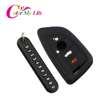 Car Key Case Cover Key Chain with Letter for BMW X1 X3 X4 X5 X6 F15 F16 F48 G30 G38 525 540 740 1 2 5 7 Series 218i Smart Key image