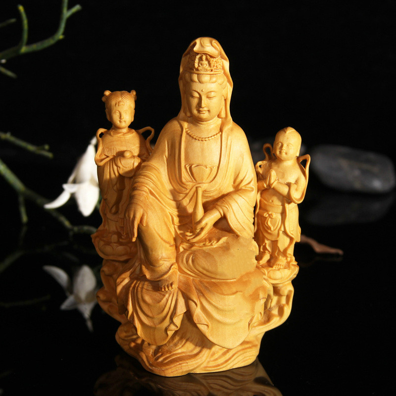 Golden Boy Jade Girl Guanyin Boy and Goddess of Mercy Home Decoration Gift for Goddess of
