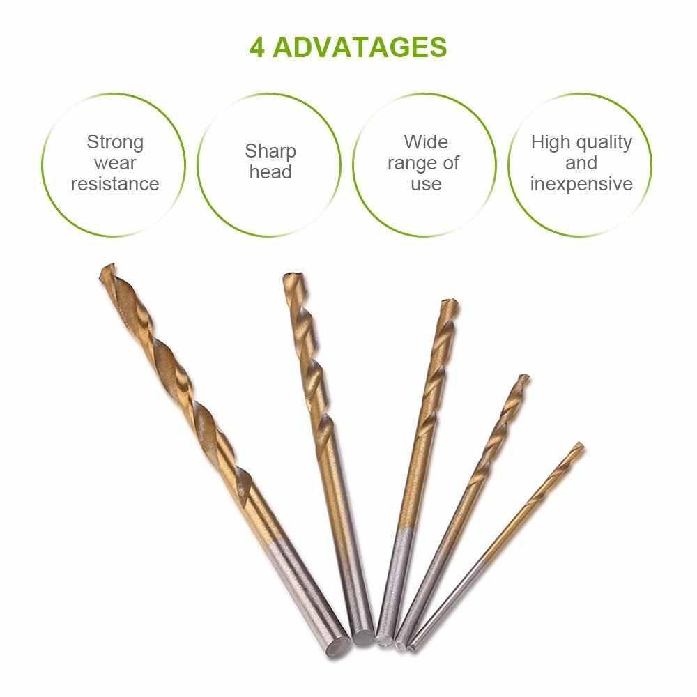 50 pcs Titânio Revestido Conjunto de Brocas HSS Aço de Alta Velocidade Broca Bits Tool Set Alta Qualidade Conjunto de Ferramentas de Mão 1/1. 5/2/2.5/3mm