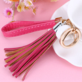 Simple Luxury Rubber Tassels Key Chain Women Keychain Bag Pendant Alloy Car Key Chain Ring Holder Retro Jewelry