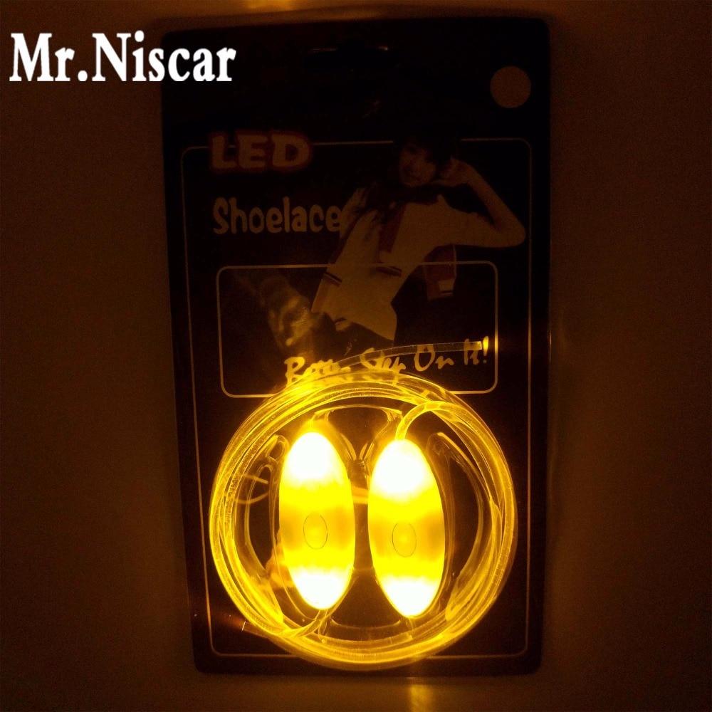 Mr.Niscar 1 Paar Kollane Light Up LED kingapaelad New Fashion Boys Girls Flash kingad Laces Diskopidu hõõguv öö kingad