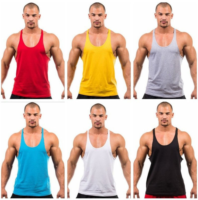Basic fitness bodybuilding training vest cotton without printing mens muscle shirt gym tank top men workout